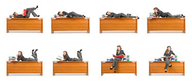 The busy businesswoman isolated on the white Royalty Free Stock Photo