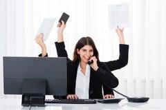 Busy Businesswoman Multitasking Royalty Free Stock Photos
