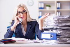 The busy businesswoman working in office at desk. Busy businesswoman working in office at desk royalty free stock images