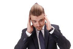 Busy bussinessman worrying about problems having place in his own company . stock photography