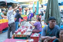 Busy bustling local markets in small town in Chiang Mai Province Royalty Free Stock Photo