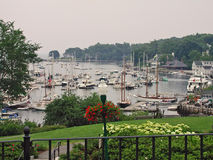 Busy Camden Harbor. The busy harbor in Camden Maine Royalty Free Stock Image