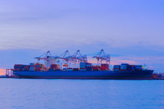 Busy of cargo shipping terminal. Stock Images