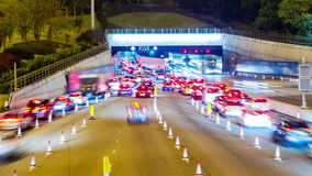 Busy Cars Going Into Tunnel.  Pan Shot. Stock Photo