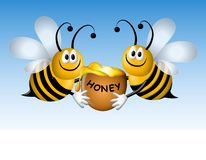 Busy Cartoon Bees With Honey stock illustration
