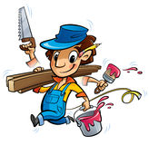 Busy cartoon carpenter character doing many things at same time. Cartoon man worker in blue uniform and hat doing simultaneously many jobs holding brush paint Royalty Free Stock Photography