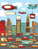 Busy cartoon city Royalty Free Stock Photos