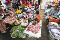 A busy Central Market in Phnom Penh, Cambodia. stock photography