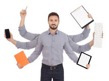 Busy cheerful man Royalty Free Stock Image