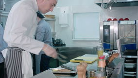 Busy chefs at work cooking in the restaurant kitchen stock video