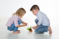 Busy children on the floor Stock Image