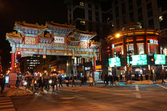 Busy Chinatown at Night in Washington DC Stock Photography
