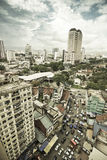 Busy City. Aerial view of Chow Kit Road, Kuala Lumpur, Malaysia. The image shows the peak hour of a noisy, busy urban area. With old, buildings, mixed Royalty Free Stock Images