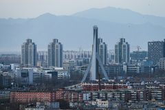 The busy city, the building in the city. Beijing is a busy city with a new look every day, because the city is being built every day Royalty Free Stock Photos