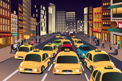Busy city in the evening. A vector illustration of busy city in the evening vector illustration