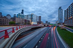 Busy city highway at twilight. Stock Photography