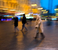 Busy city people going along the street Royalty Free Stock Images
