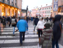 Busy city people on zebra crossing Royalty Free Stock Photography