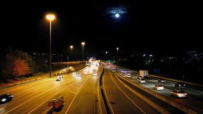 Busy City Road With Full Moon stock video