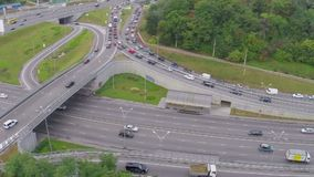 Busy city road junction, heavy traffic jam, rush hour aerial. Stock footage stock video