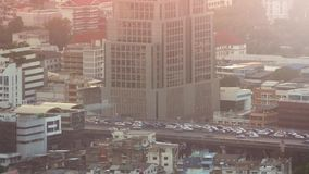 Busy City Road In Morning Haze stock video footage