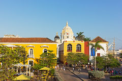 Busy city square near the sea in Cartagena, Colombia. Royalty Free Stock Image