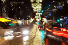 Busy city street at night Royalty Free Stock Photography