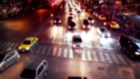Busy city street night view with moving cars. Bangkok, Thailand stock video