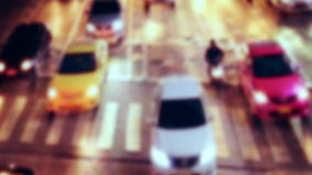 Busy city street night view with moving cars. Bangkok, Thailand stock footage