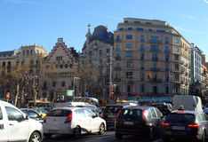 Busy city traffic view,Barcelona Stock Photography