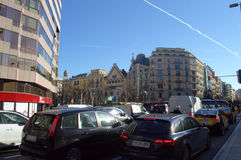 Busy crossroads,Barcelona Royalty Free Stock Photo