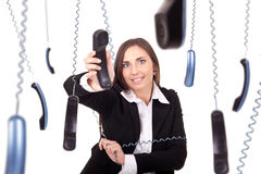 Busy and clumsy secretary Royalty Free Stock Photos