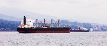 Busy coastal shipping lane off North Vancouver Royalty Free Stock Photography