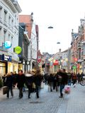 Busy commercial street in Leuven Stock Images