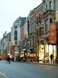 Busy commercial street in Leuven Stock Photos