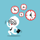 Busy concept running out of time business cartoon. Illustration Stock Photo