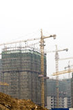 Busy construction site with Tower Cranes Stock Images