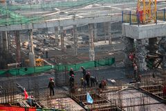 A busy construction site in wuhan city, china stock photos