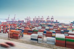 Busy container port in shanghai Royalty Free Stock Photo