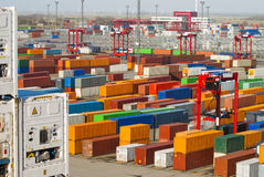 Busy container port terminal Royalty Free Stock Photos