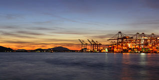 Busy container port Royalty Free Stock Photo