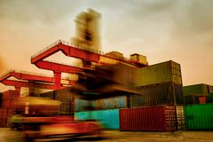 A busy container terminal royalty free stock photo