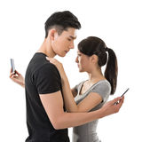 Busy couple. Hug and talk to others stock photos