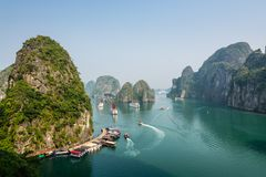Busy cove near Sung Sot Cave in Halong Bay. Vietnam royalty free stock images