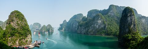 Busy cove near Sung Sot Cave in Halong Bay. Vietnam royalty free stock image