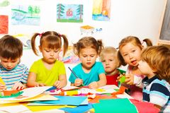 Busy creative kids Royalty Free Stock Image