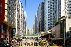 Busy Crossing Street in Hong Kong. Royalty Free Stock Photography