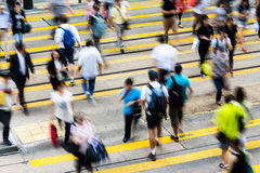 Busy Crossing Street in Hong Kong Royalty Free Stock Image