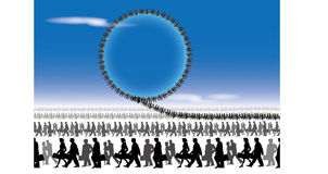 Busy crowd. Nervous all day long work, not rest stock illustration