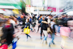 Busy crowd in the city with zoom effect Royalty Free Stock Photography